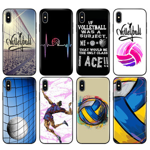 Black tpu case for iphone 5 5s SE 2020 6 6s 7 8 plus x 10 case silicone cover for iphone XR XS 11 pro MAX case Volleyball Sports(China)