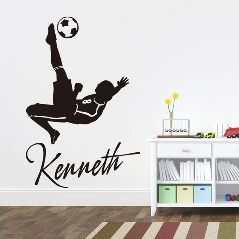 soccer player wall decals custom name removable football vinyl wall stickers for kids rooms
