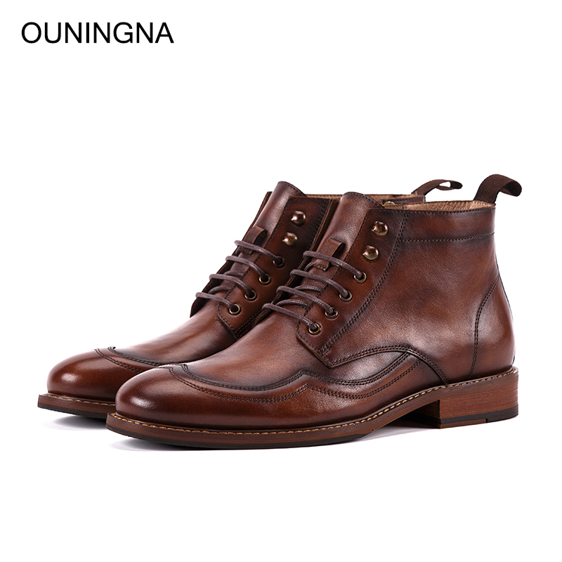 OUNINGNA 2019 Autumn Winter New High Quality Classics British Style Genuine Leather Round Toe Martin Boots Mens Chelsea BootsOUNINGNA 2019 Autumn Winter New High Quality Classics British Style Genuine Leather Round Toe Martin Boots Mens Chelsea Boots