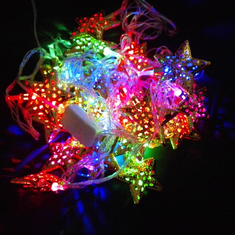 3m length 20 bulbs Christmas decoration light sliver and golden star shape lights 50-250V voltage range various plugs