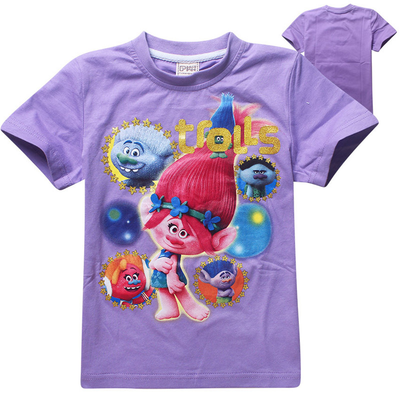 Trolls 2016 t-shirt kids clothes girls tops and tees children clothing cartoon boys t shirt girls clothes roupas infantis menina