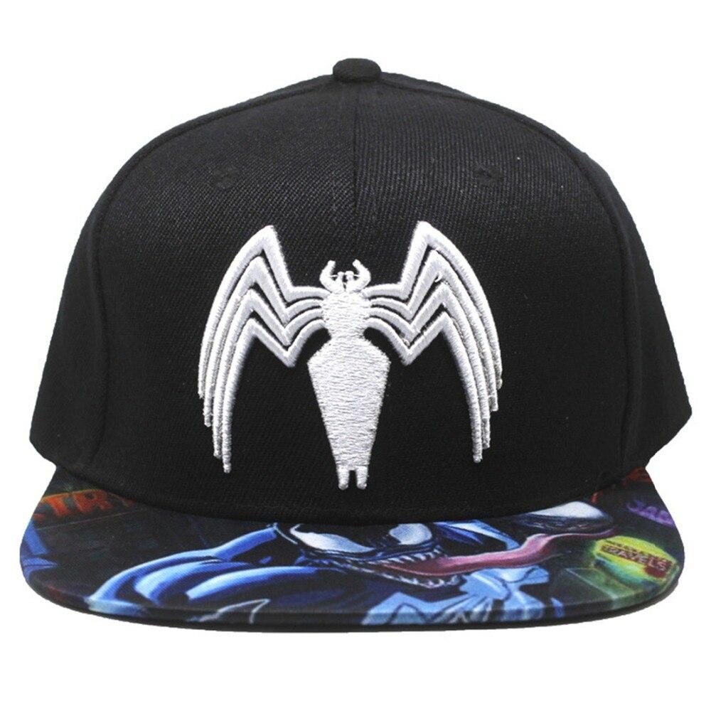 70be02264 Marvel Spider Man Venom hats printed embroidery hip hop men women baseball  cap black popular street
