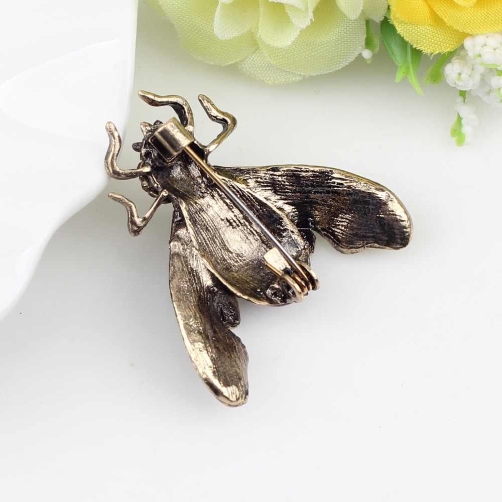 Bonsny Perunggu Antik Bee Serangga Paduan Bros Berlian Imitasi Jarum untuk Wanita Wanita Aksesoris Dekorasi Modis Perhiasan Payet Hadiah