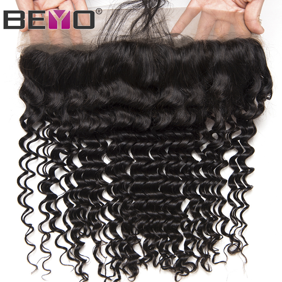 Beyo Hair Pre Plucked Lace Frontal With Baby Hair Ear To Ear Peruvian Deep Wave Closure