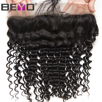Beyo Hair Pre Plucked Lace Frontal With Baby Hair Ear To Ear Peruvian Deep Wave Closure 13x4 Non Remy Human Hair Free Shipping