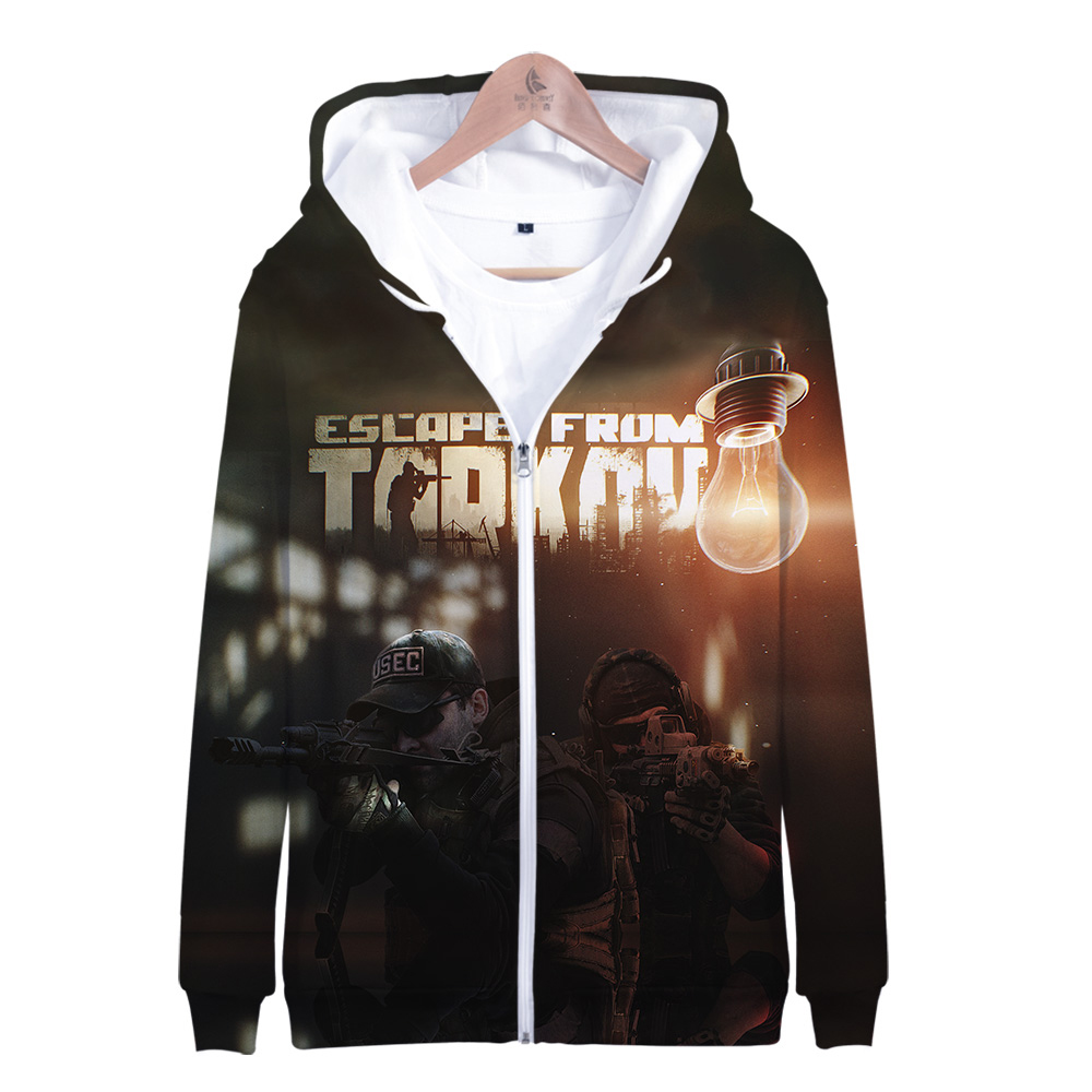 Escape From Tarkov Game Zipper Hoodies Men Fashion Long Sleeve 3d Hooded Sweatshirt 2019 Hot Sale Streetwear Clothing Plus Size