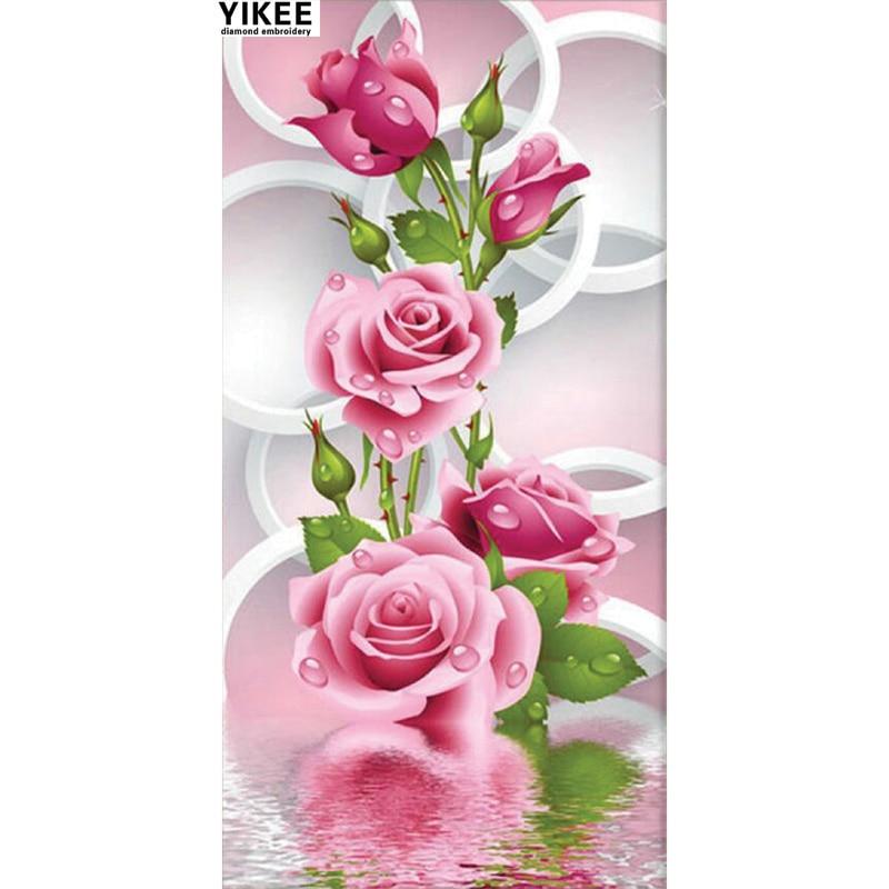 W003 květiny diamantové výšivky, diy drahokamu malířství, diamantové malby
