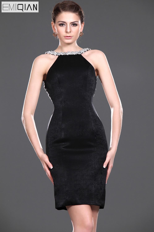 Sheath Backless Black Beaded Formal Wedding Party Dress Bridesmaid ...