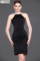 Sheath Backless Black Beaded Formal Wedding Party Dress Bridesmaid Gown
