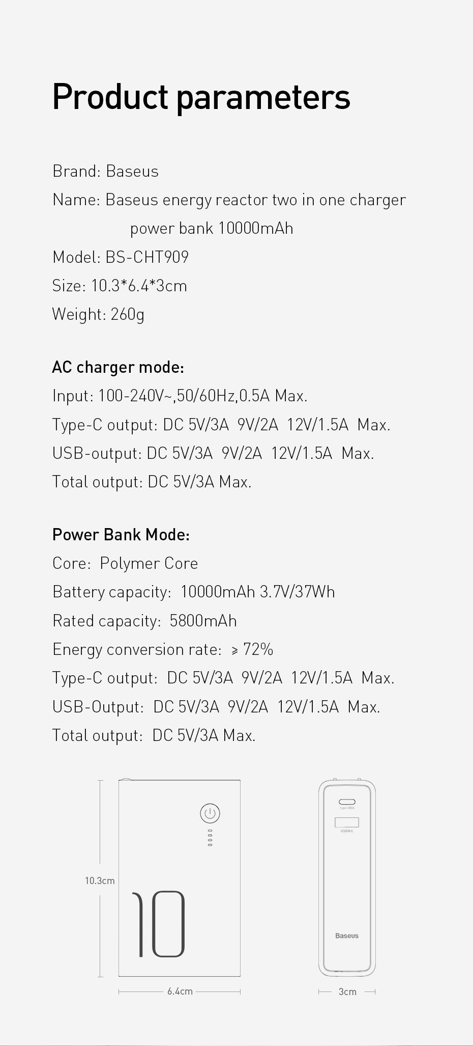 Baseus Energy Reactor Two in One Charger Power Bank 10000mAh 18W 11
