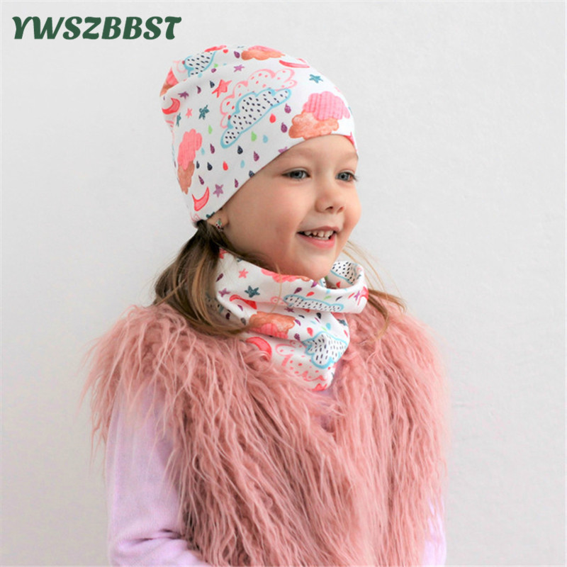 Cartoon baby girl hat Boy cap Baby Caps and Hats children cotton scarf collar autumn winter infant hat sets for 0 to 4 years in Hats Caps from Mother Kids