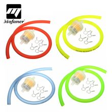 6mm Motorcycle Gas Fuel Filter Petrol Pipe Hose Line + 4 Clips Moto Scooter Dirt Bike Yellow Red Blue Green(China)
