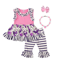 Persnickety Remake Baby Girls 2 Pcs Sets Purple Print Top Floral Capris Cotton Hot Sale Kids