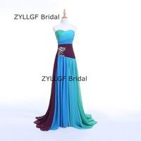 ZYLLGF Braut Mantel Schatz Abendkleider Lange Korsett Zurück Multi Color Abendkleid 2017 Perlen Regenbogen Abendgarderobe SP7