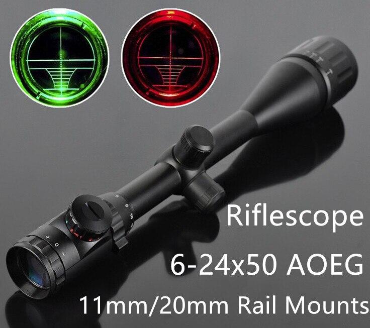 Fusil à Air comprimé optique de chasse lunette de visée 6-24x50 AOE rouge et vert illuminé lunette de visée fusil de chasse portée pour le tir