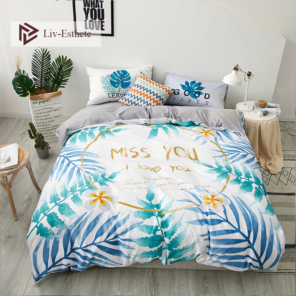 Liv-Esthete Fashion Plant I Love You 100% Cotton Bedding Set Decor Duvet Cover Pillowcase Flat Sheet Double Queen King Bed