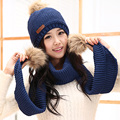 Winter women's ultra long plus velvet thickening knitted thermal set yarn scarf hat twinset birthday gift