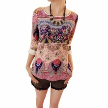 Quarter s-xxl puff three elegant korean blouse floral girl slim shirt