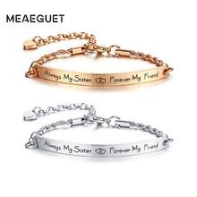BFF Hand Chain Bar Bangle Bracelet Women Stainless Steel Forever Friendship Adjustable Pulseira Mujer Bijoux Best Friend Gift