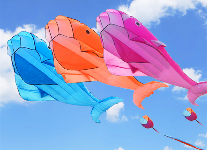 free shipping large dolphin kite nylon ripstop fabric kite line animated kites fishing inflatable kite outdoor toy Parafoil in Kites Accessories from Toys Hobbies