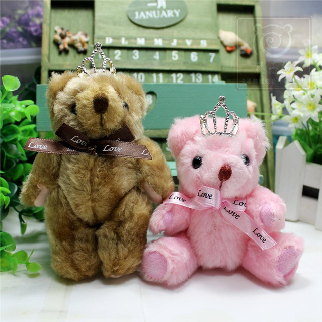 12pcs Lot 12cm Love Crown Mini Joint Teddy Bear Wedding Car Decoration Party Children Birthday