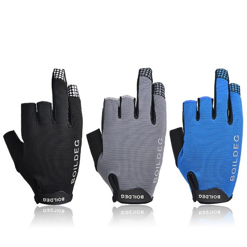 1Pair/set 3 Half-Finger Fishing Gloves Sport Leather Fishing Gloves Breathable Anti-Slip Glove Fishing Accessaries