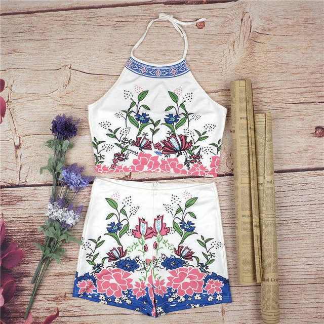 Crop Top And Shorts Set 2 Piece Set Women Halter Floral Print Backless Tees Tracksuits Summer Lady Clothing A461