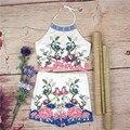 Top de culturas E Calções Set 2 Peça Set Mulheres Halter Floral Imprimir Backless Tees Verão Fatos de treino Vestuário Senhora A461