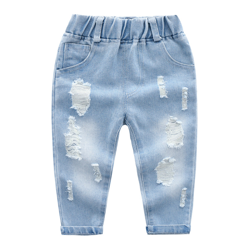 2019 New spring autumn boys Jeans Fashion children's trousers washed large holes Classic blue all match pants Light color(China)