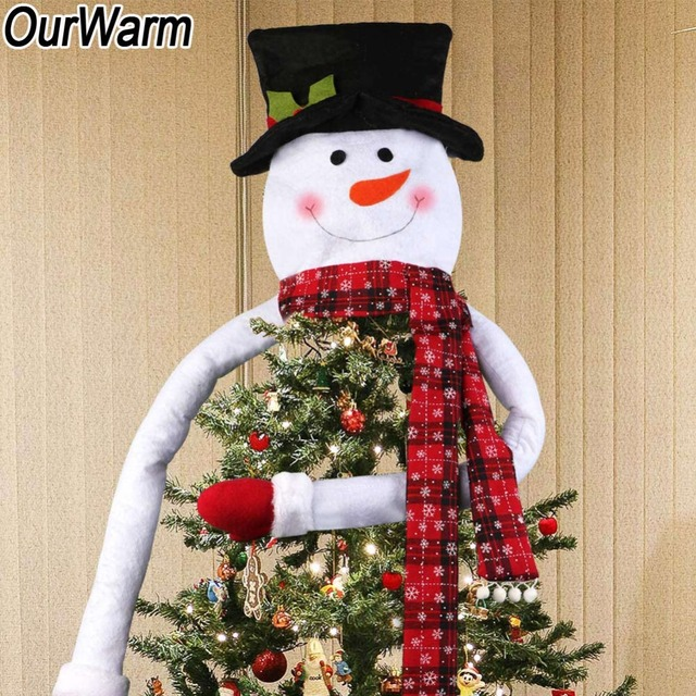 Us 5 79 30 Off Ourwarm Bow Christmas Tree Topper Snowman Elk Santa Claus Christmas Tree Hat Ornament Xmas Tree Navidad Decoration New Year 2018 In