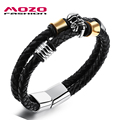 MOZO FASHION Men Bracelet Braided Leather Rope Chain Stainless Steel Skull Bracelet Male Punk Bangle Skeleton Jewelry MPH1105