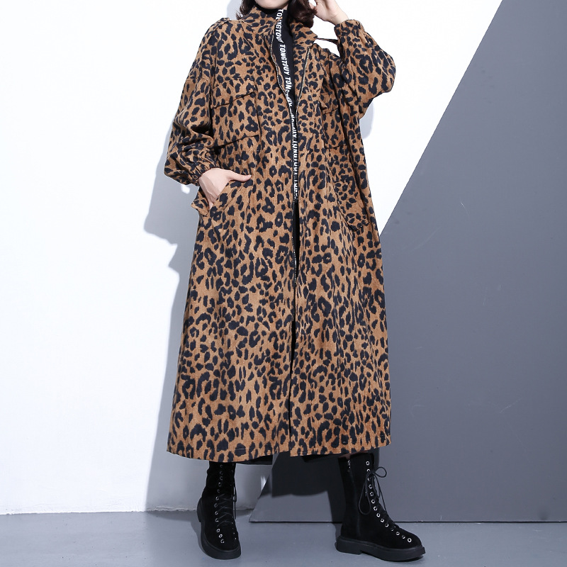 2019 Spring Autumn New Arrival Stand Collar Long Sleeve Leopard Printed Loose Big Size Long Windbreaker Women   Trench   Coat