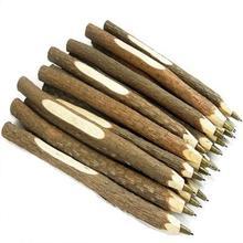 40 개/몫 빈티지 수제 나무 환경 볼펜 나뭇 가지 공 펜 웨딩 펜 학교 사무 용품
