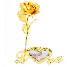 Dried Flowers 1 pcs 24K  Foil Plated Rose Gold Flower Valentines Day Gift lovers artificial flower Wedding Decoratio