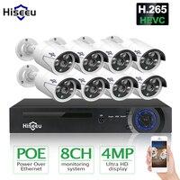 Hiseeu HD 8CH 4MP POE камера безопасности Системы комплект H.265 POE IP Камера открытый Водонепроницаемый Главная видеонаблюдения сетевое записывающее ...