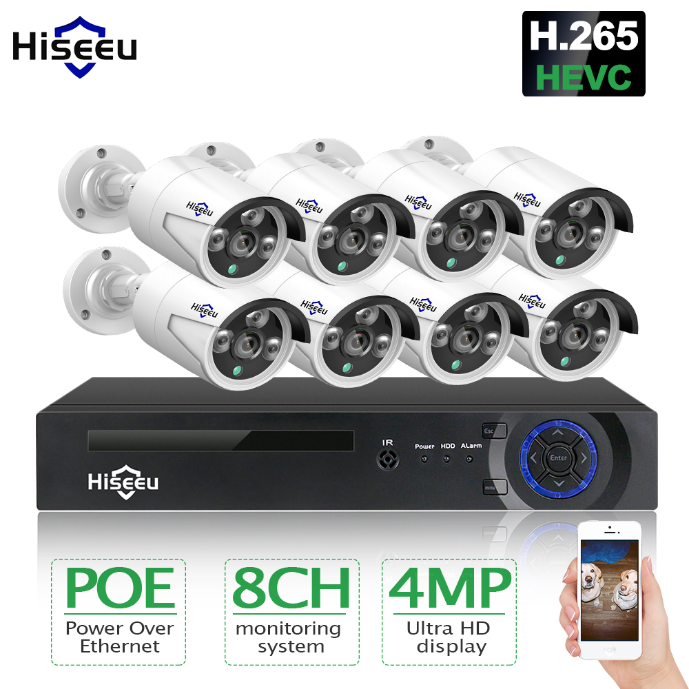 Hiseeu HD 8CH 4MP POE security camera System Kit H.265 POE IP Camera Outdoor Waterproof home cctv Video Surveillance NVR set