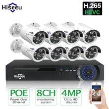 Hiseeu HD 8CH 4MP POE камера безопасности Системы комплект H.265 POE IP Камера открытый Водонепроницаемый Главная видеонаблюдения сетевое записывающее устройство в комплекте