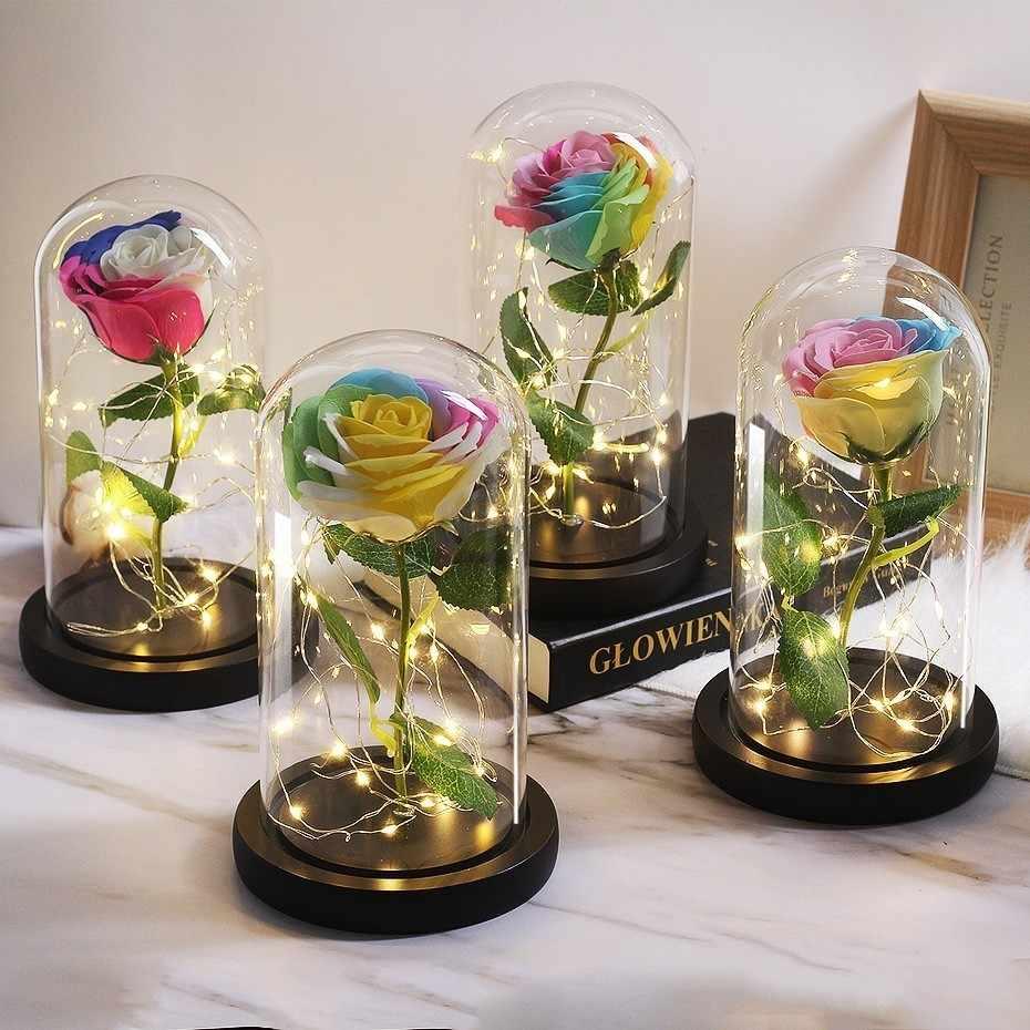 2019 Baru Model Hadiah Kreatif Sabun Bunga Buatan Busa Rose Bunga Di Kubah Kaca Rumah Buket Pengantin Dekorasi Pernikahan Natal