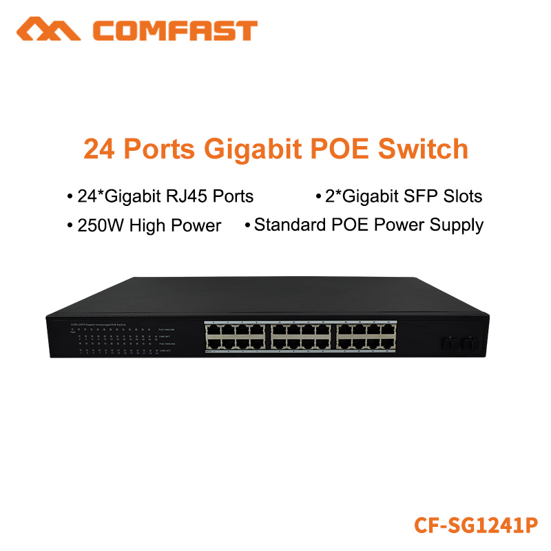 COMFAST 24*Gigabit RJ45 Port+2*Gigabit SFP Slots POE Network Switch With 54Gbps Broad Width 250W High Power CF-SG1214P цена