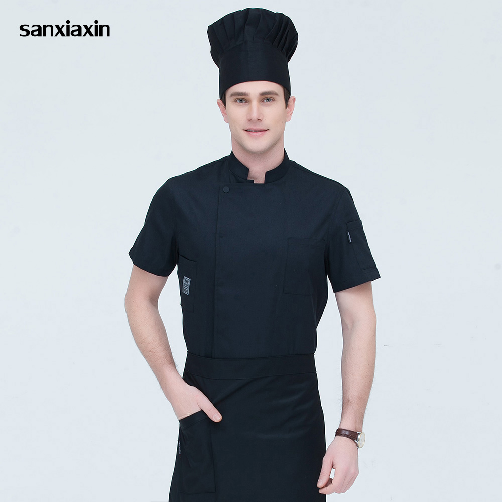 Short Sleeve Restaurant Chef Uniforms Double Breasted Sushi Bakery Cafe Waiter Catering Food Service Kitchen Work Jackets Aprons