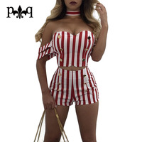Hilove Striped Bodysuits Women Summer Off Shoulder Playsuit Two Piece Playsuits Casual Buttons Zipper Short Rompers
