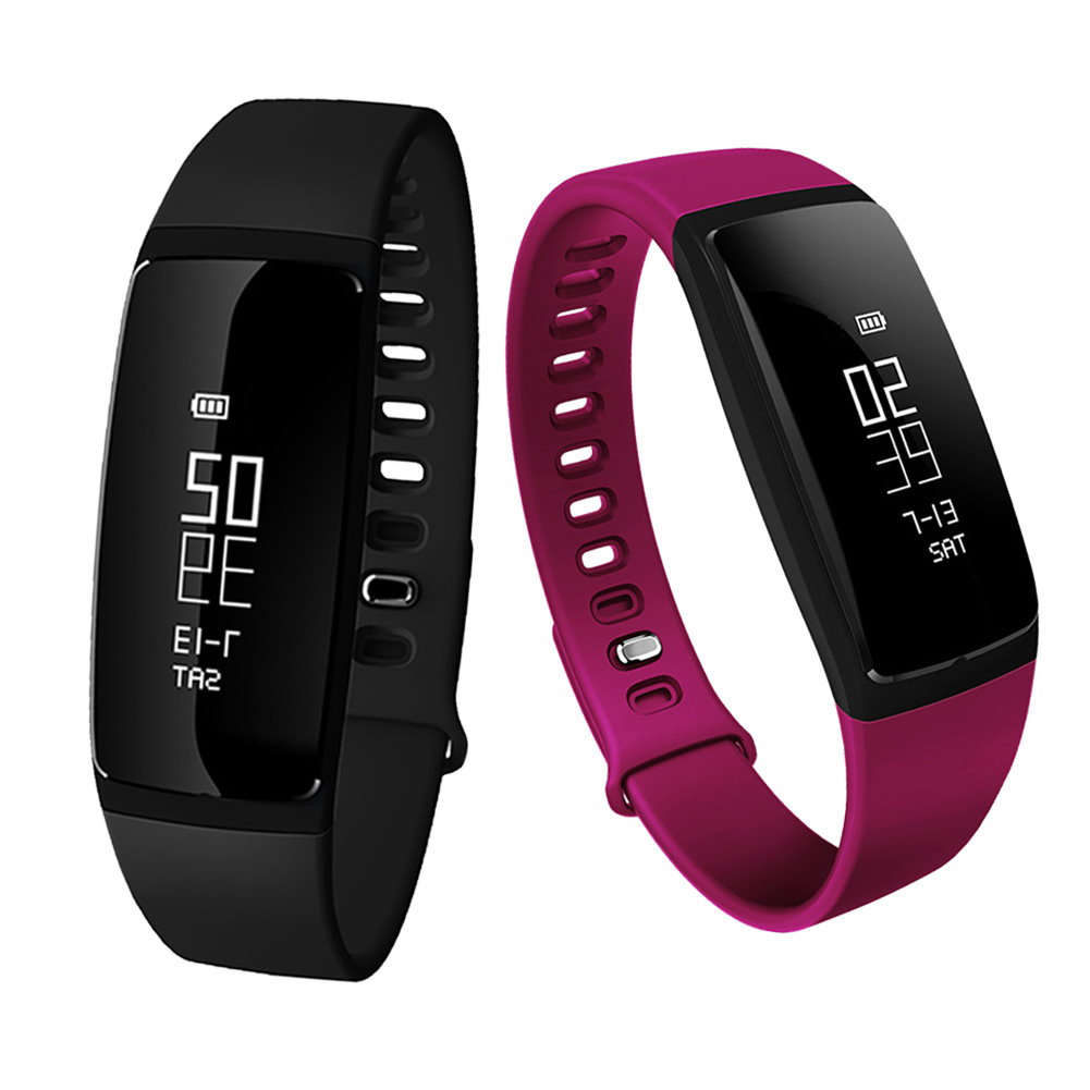 Smart Wristband Blood Pressure Heart Rate Sleep Monitoring Bluetooth Pedometer Wristband 2 Colors Red Black