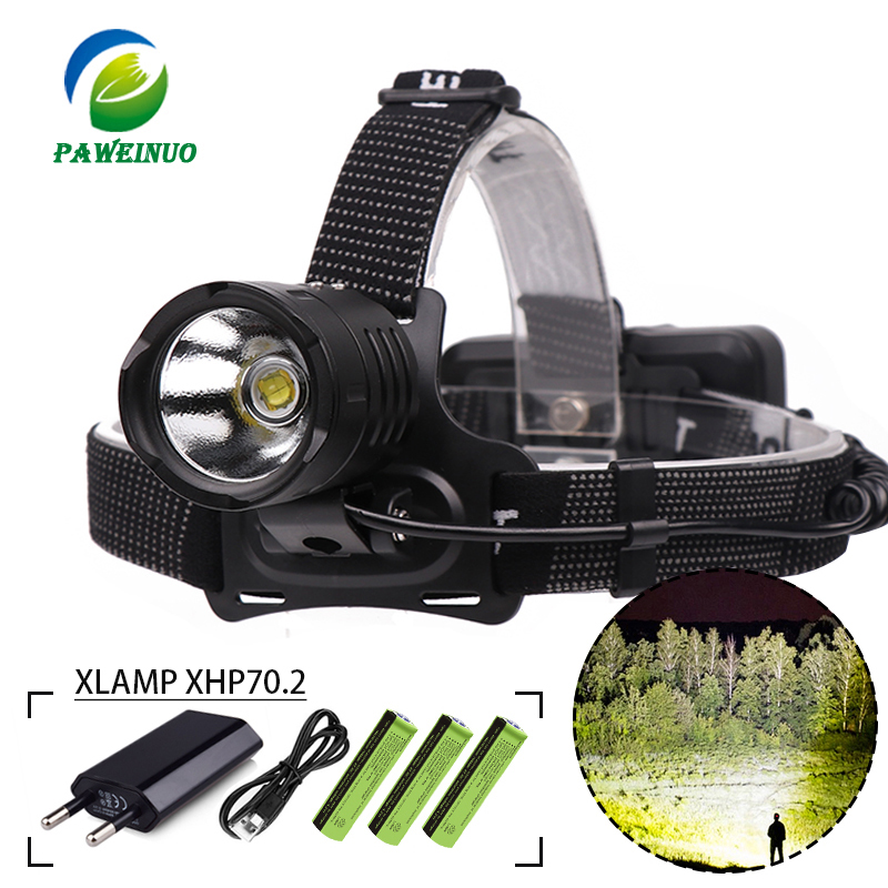 Most Powerful Led Headlamp USB Charge XHP70.2 Torch Head Lamp Flashlight 18650 Battery Zoom XHP50 XPL V6 Waterproof
