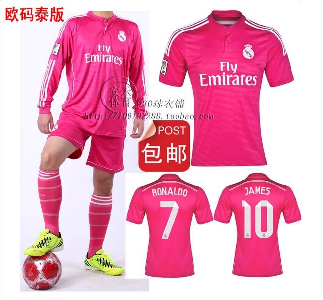 19 Shipping Print 2015 Jersey Pink Away Number-in Sleeve free Football Us 99 Jerseys Soccer Kit 2014 Short Can