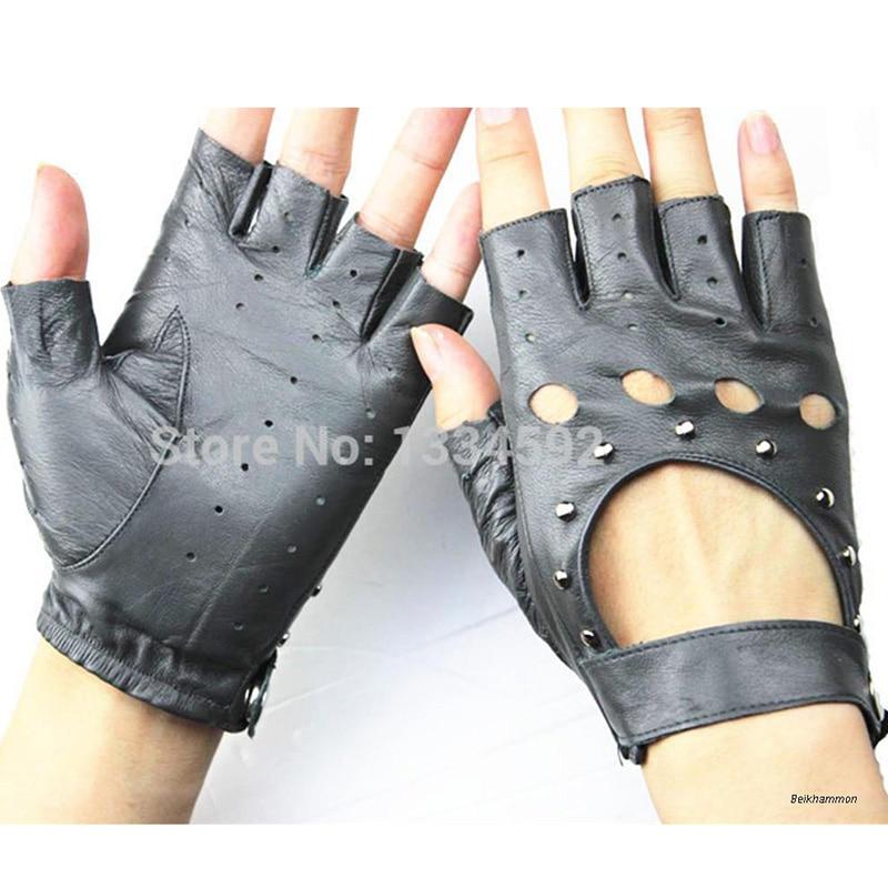 Fingerless Handskar 2017 Ms Fashion Style Hollow Rivet Half Finger - Kläder tillbehör - Foto 4