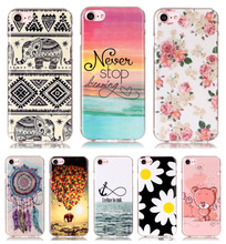 New Soft Beautiful Pattern TPU Thin Case For Apple iPhone 7 Case A1660 Mobile Phone Slim Rubber Silicone Bags Back Cover Skin