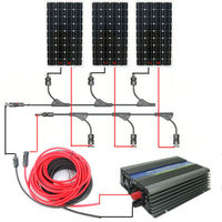 USA Style COMPLETE KIT 450w 3 150w Mono Solar Panel System With 500W 12v 120v Grid