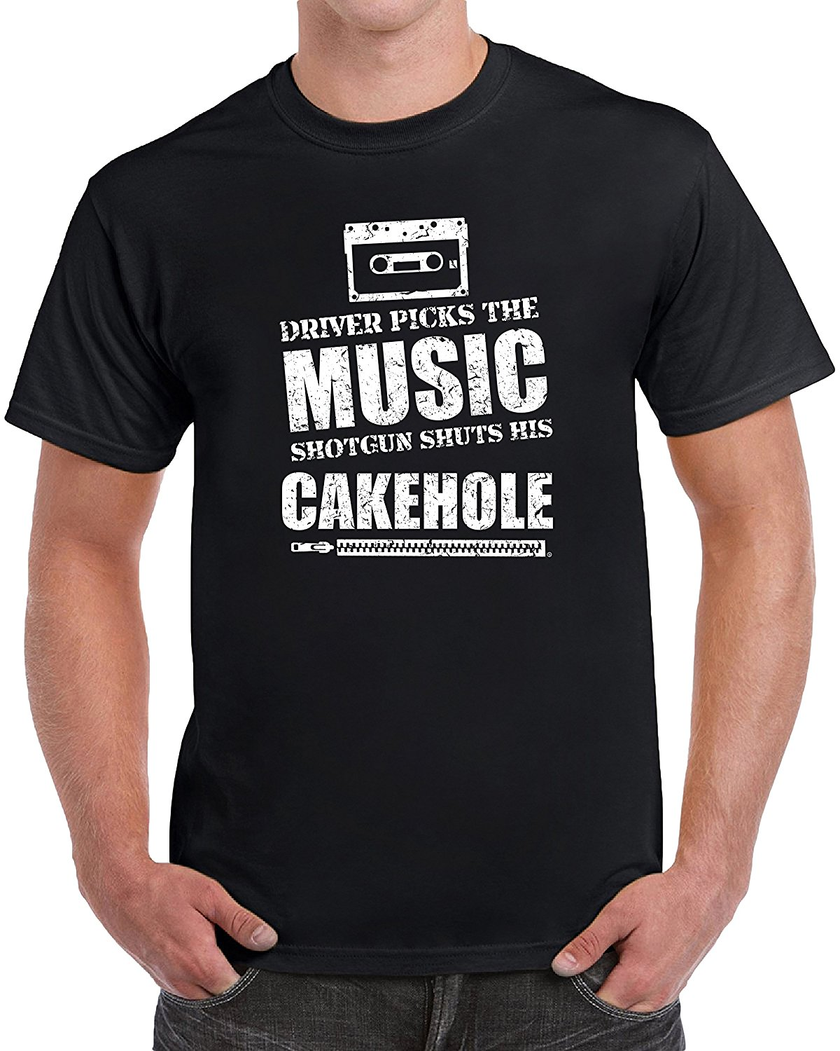 tees geek Driver Picks The Music Shotgun Shuts His Cakehole Funny Novelty Tshirt