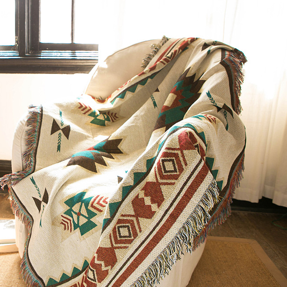 ESSIE HOME Kilim Blanket For Sofa Living Room Bedroom Rug Yarn Dyed Sofa Blanket Turkey Pattern