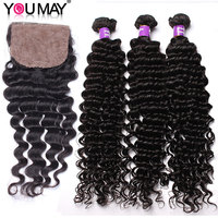 Brazilian Deep Wave Hair Weave Bundles With Silk Base Closure Natural Color Human Hair Bundles With Closure Bleach Knots You May